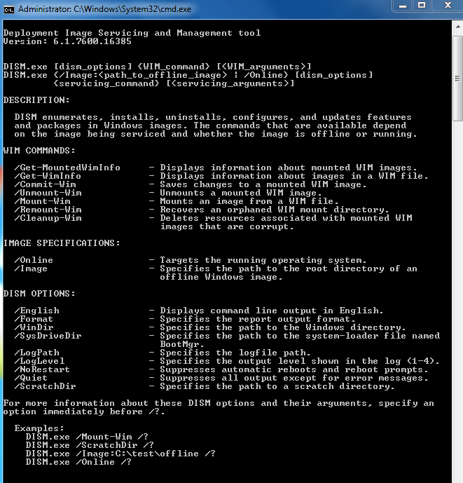 Windows 7: DISM (Deployment Image Servicing and Management)