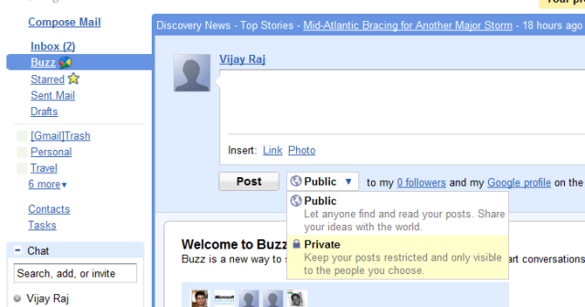 Google Buzz - Choosing Privacy Settings