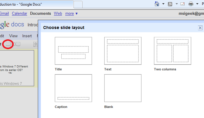 Google Docs - Choosing Slide Template