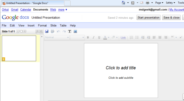 Google Docs - Creating a Presentation