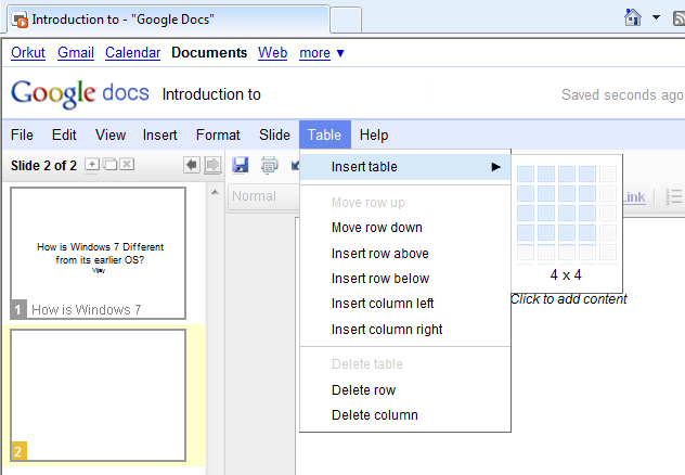 Google Docs - Creating a Table in the PowerPoint Presentation