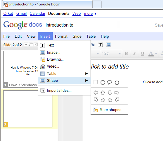 Google Docs - Inserting an Image or Drawing into the presentation