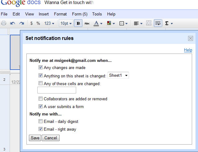 Google Docs - Notification Rules Options