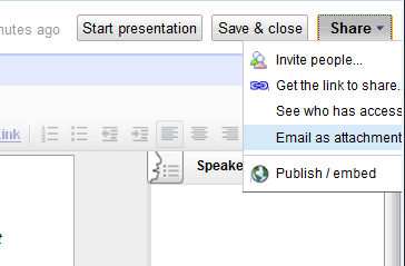 Google Docs - Share the Presentation with others