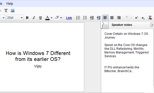 Google Docs - Speaker Notes in a Presentation