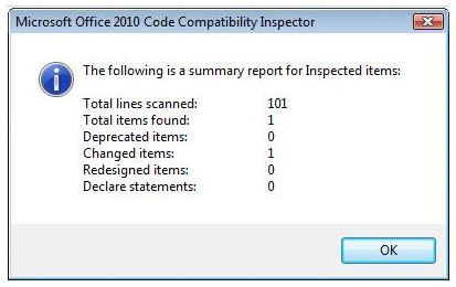 Office 2010 Compatibility Inspector Report