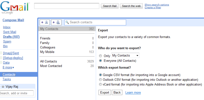 Exporting Contacts from Gmail