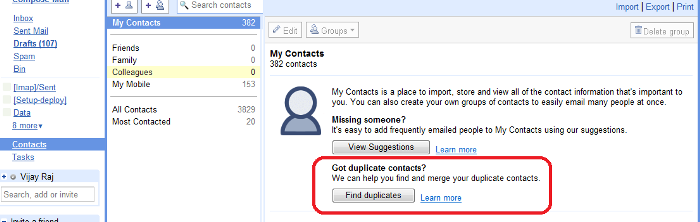 Finding Duplicated Contacts on Gmail