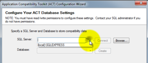 Application Compatibility Toolkit Configurating your ACT Database