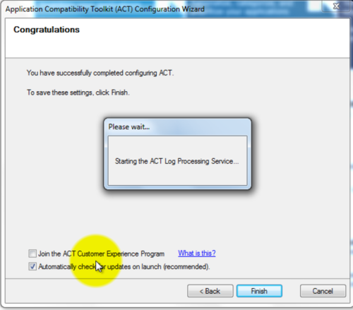 Application Compatibility Toolkit Configuration Wizard - Completion