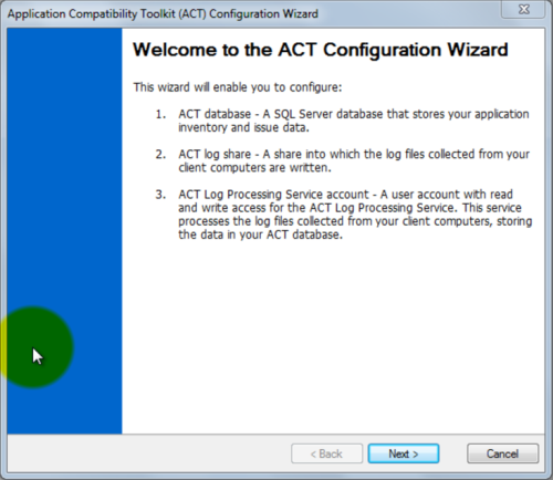 Application Compatibility Toolkit Configuration Wizard