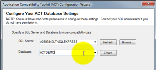 Application Compatibility Toolkit - Naming your ACT Database