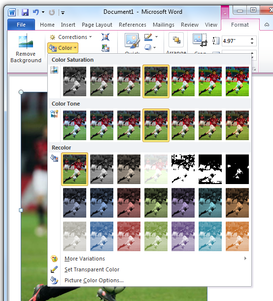 Color Menu in Image editing - Office 2010
