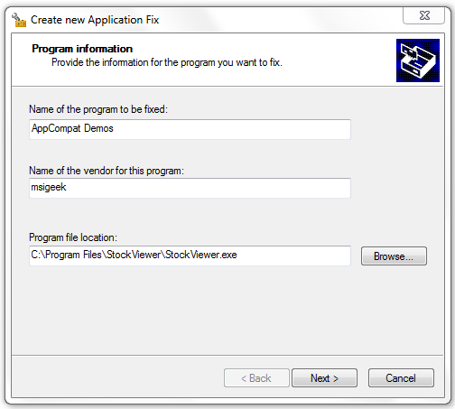 Create New Application Fix