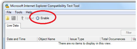 Enable - Internet Explorer Compatibility Test Tool