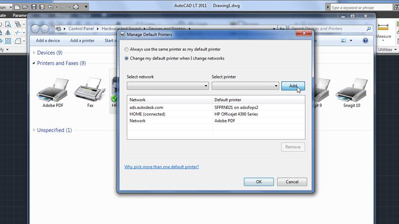 Manage default printers with Location Aware Printing