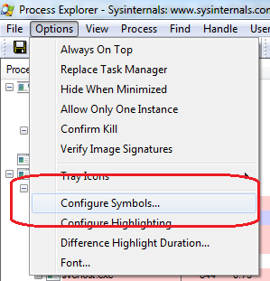 Process Explorer - Configure Symbols