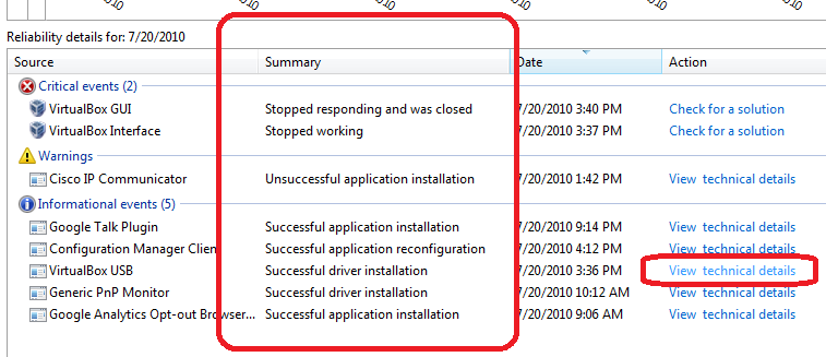 Reliability Monitor in Windows 7 - View Technical Details and Summary