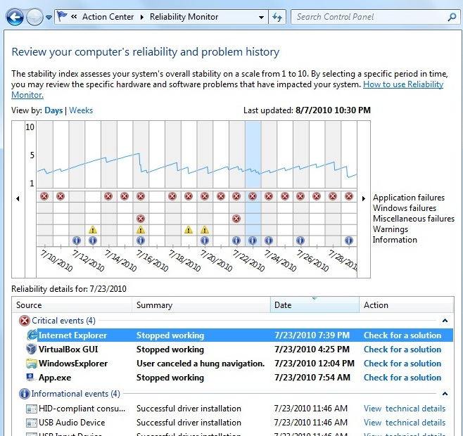 Reliability Monitor in Windows 7