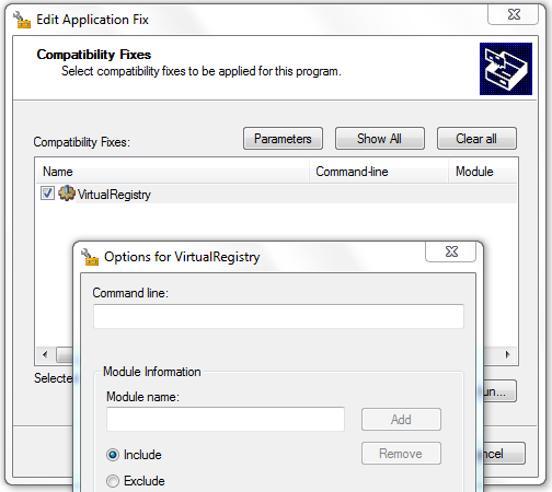 VirtualRegistry Shim Parameters