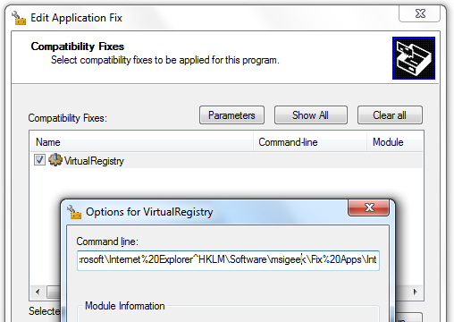 VirtualRegistry Shim with IE Parameters