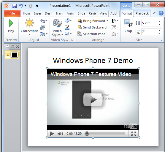 YouTube Video gets Embedded in a Presentation - PowerPoint 2010